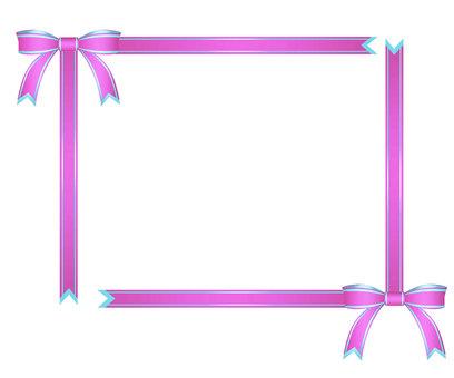 Thin pink ribbon decorative frame