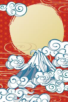 和柄の年賀状富士山