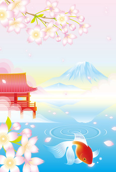Goldfish and spring Japanese landscape