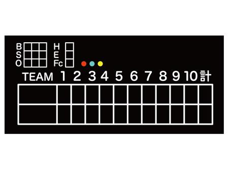 Baseball scoreboard black blackboard