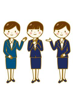 Women's suit pose 3 people