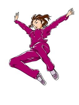 Jumping woman (magenta)