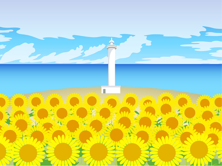 Summer view Sunflower, lighthouse, sea, blue sky