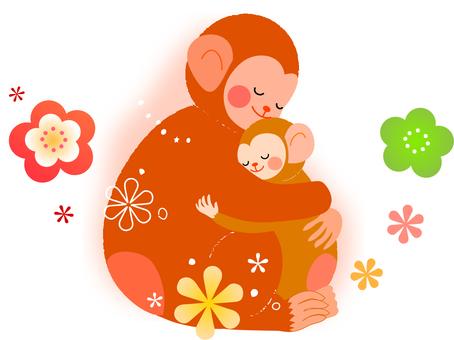 Illustration of monkey parent and child