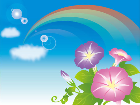 Blue sky and morning glory and rainbow 1