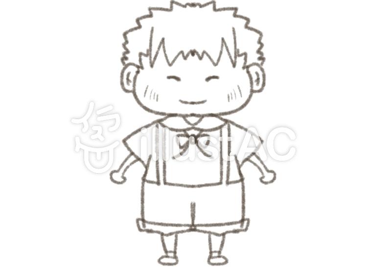 男の子笑顔半ズボン塗り絵線画イラスト No 1141453無料