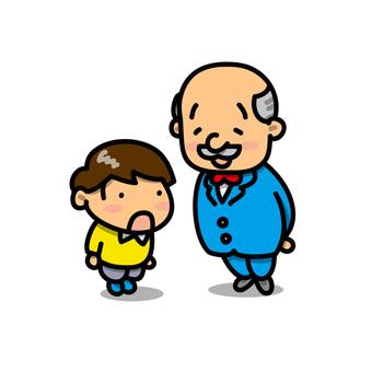 Illustration of a boy greeting the principal