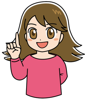 Girl comical pointing finger 3