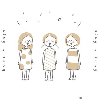 노래 소녀 일러스트 세트
