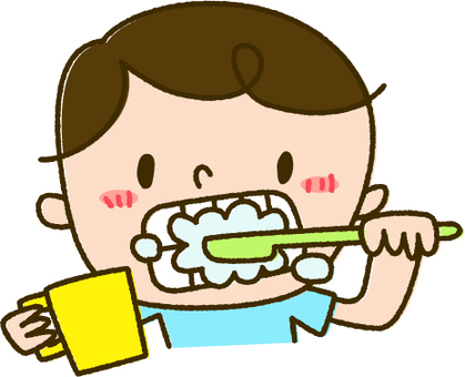 Boy brushing tooth