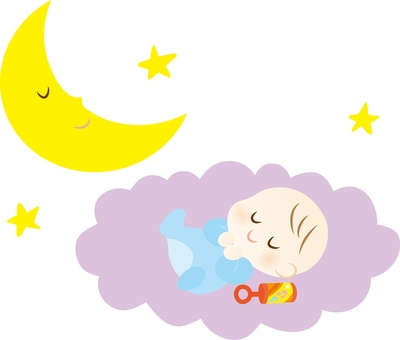 A baby sleeping on a cloud