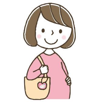 Maternity mark / cute pregnant woman / woman