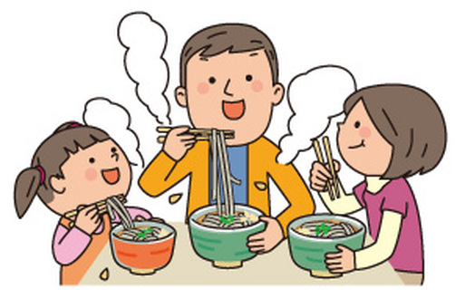 Families eating soba
