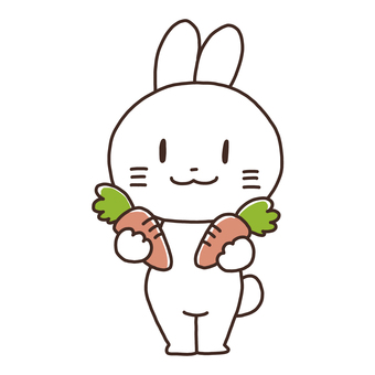 Illustration of a rabbit holding a carrot