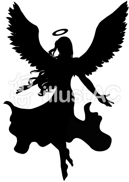天使シルエット. 天使シルエットのイラスト