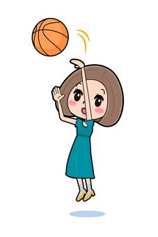 Green dress young woman basketball