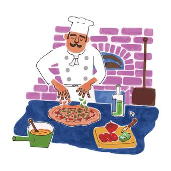 피자를 만드는 요리사
