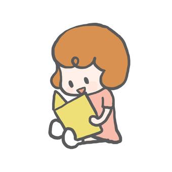 女孩彩色讀圖畫書