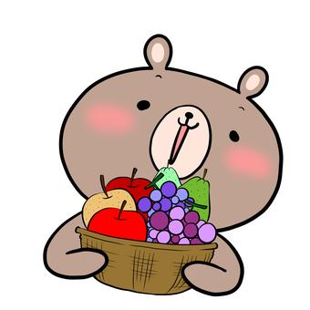 과일 바구니와 곰 밝은