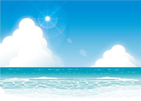 仲夏海太阳和地平线