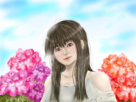 꽃과 여성 (제라늄)