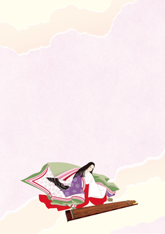 Twelve single women's costume - Koto Horse Frame _ Pink Paper Paper