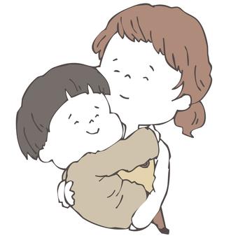 母と子の抱っこ