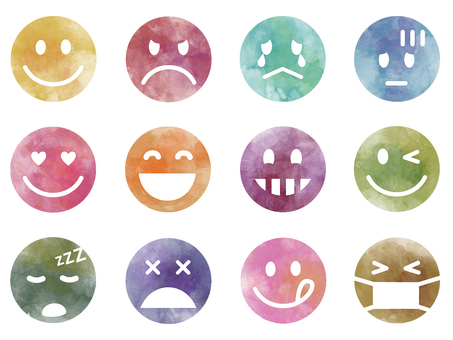 Emoticon set (watercolor style)