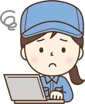 PC에서 고민 작업복 여성