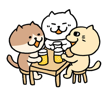 Cats drinking party
