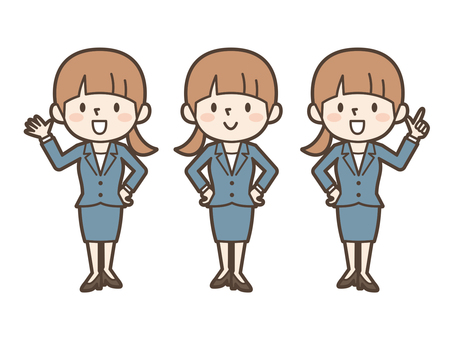 Business woman OL pose set