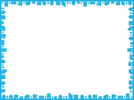 簡單的城市框架藍色