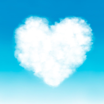 Heart in blue sky