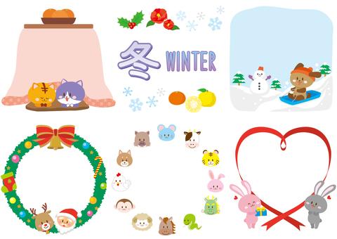 冬イラストフレーム/カラー