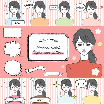 Female facial expression pattern & amp; parts set