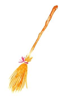 Broom cleaning tool watercolor