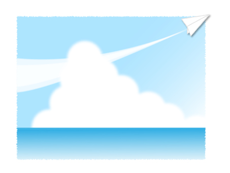 Paper airplane and sea