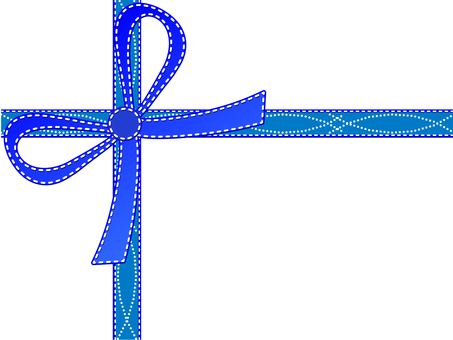 Simple gift ribbon blue