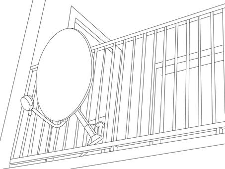 Scenery with parapola antenna B & W correction