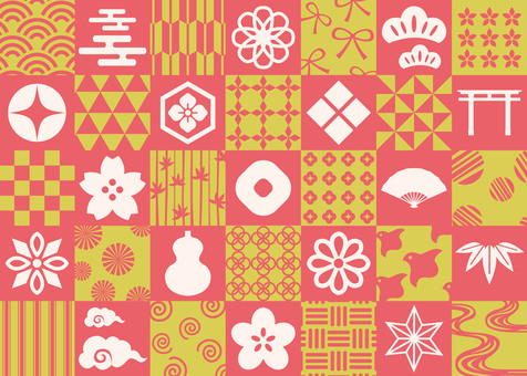 Japanese pattern material red