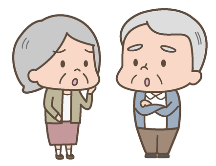 Anxious old couple