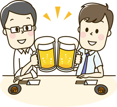 Men who drink beer at drinking party 2 - 2 cups