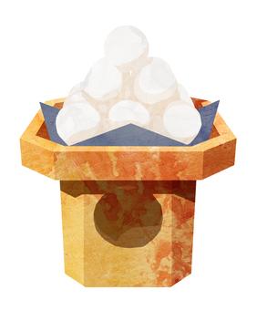 Tsukimi dumpling mochi-making items Watercolor