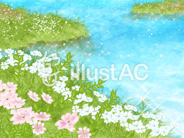 水辺の背景のイラスト