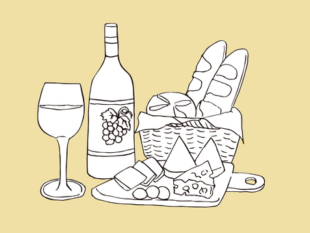 Wine and cheese and bread