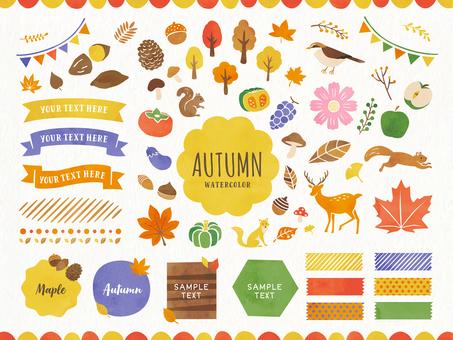秋天的框架設計和裝飾插圖集