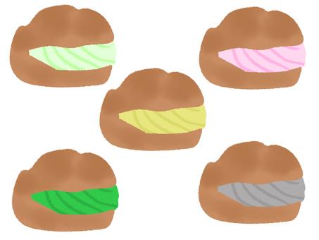 Multicolored cream puffs