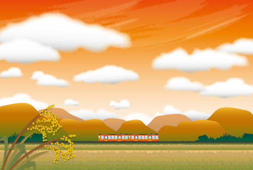 A landscape with a train of a sunset hometown