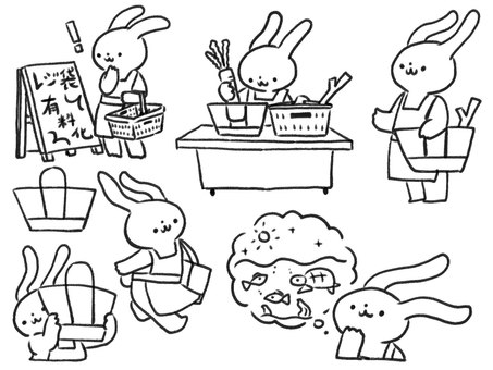[Line drawing] Rabbits using eco bags