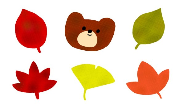 Bear and fallen leaves